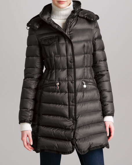 Long Puffer Coat with Hood, Navy