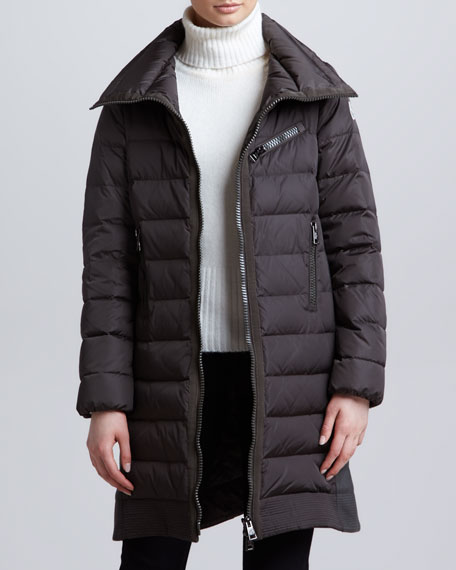 Long Puffer Coat with Knit Insets, Olive