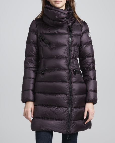 Asymmetric-Zip Long Puffer Coat, Burgundy