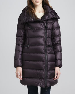 Moncler Asymmetric-Zip Long Puffer Coat, Burgundy