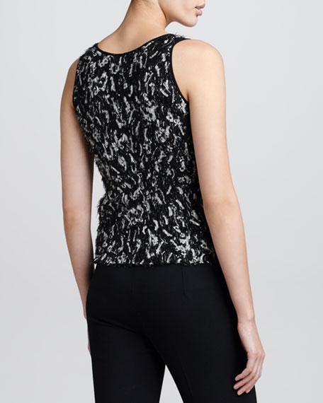 Eyelash Fringe Knit Tank, Black/White