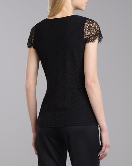 V-Neck Cap-Sleeve Lace Top, Caviar