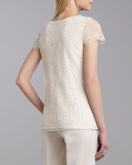 V-Neck Cap-Sleeve Lace Top, Porcelain/Cream