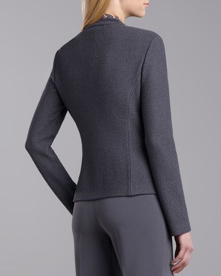 Boucle Knit Fitted Jacket, Pewter