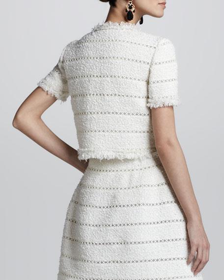 Cropped Fringe Tweed Jacket, Ivory