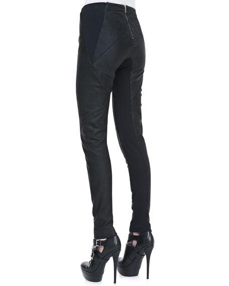 Waxed Leather Paneled Pants