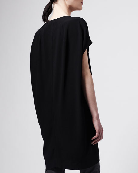 Raw Silk Tunic, Black