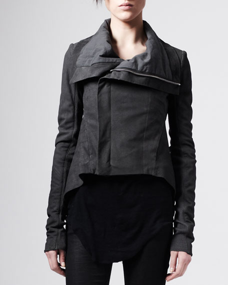 Blistered Leather Trapeze Jacket