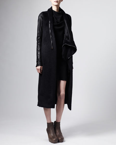 Leather-Sleeve Asymmetric Coat