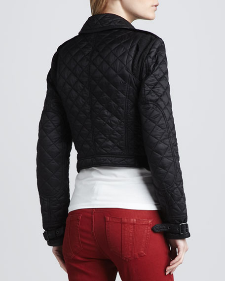 Cropped Quilted Moto Jacket