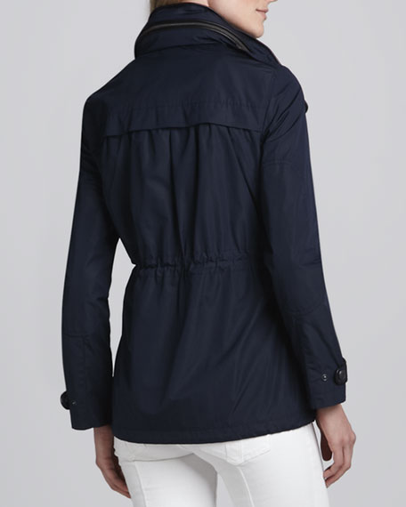 Leather-Trim Parka Jacket