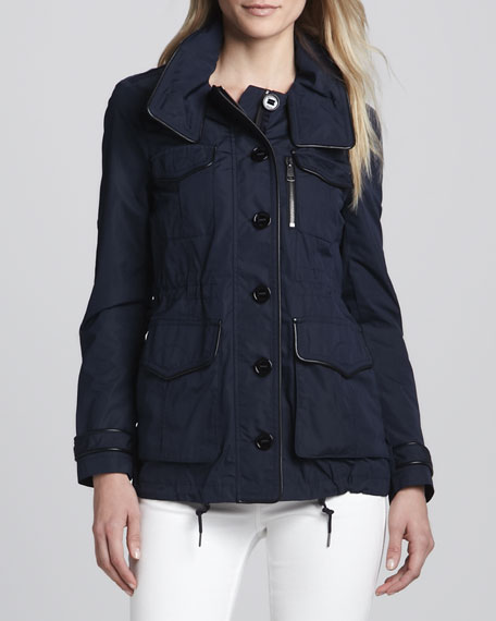 Leather-Trim Parka Jacket