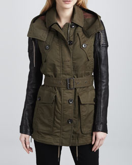 Burberry Brit Leather-Sleeve Parka
