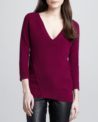 V-Neck Cashmere-Cotton Sweater, Damson Magenta