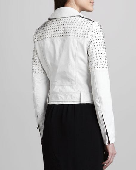 Studded Biker Jacket, White
