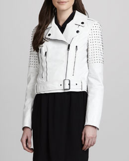 Burberry Brit Studded Biker Jacket, White