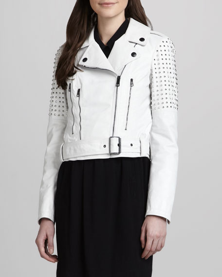 Studded Biker Jacket, White