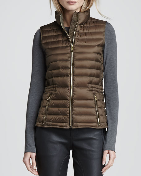 3-in-1 Puffer Vest Jacket, Olive Brown