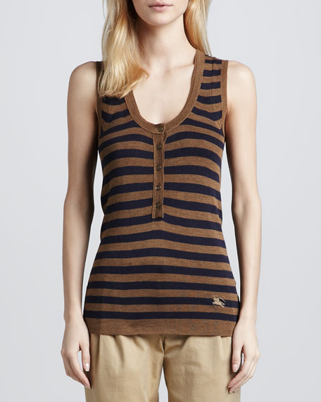 Half-Button Silk-Wool Striped Tank