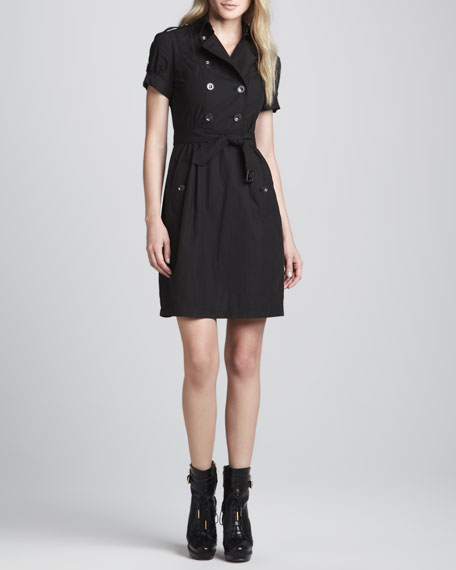 Trench-Silhouette Dress, Black