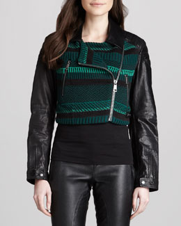 Burberry Brit Knit Moto Jacket with Leather Sleeves