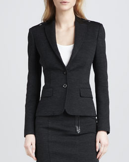Burberry Brit Leather-Detail Blazer, Dark Gray
