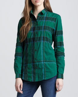 Burberry Brit Button-Down Woven Check Shirt, Dark Racing Green