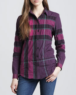 Burberry Brit Button-Down Woven Check Shirt, Dark Royal Purple