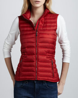 Burberry Brit Zip Puffer Vest, Military Red