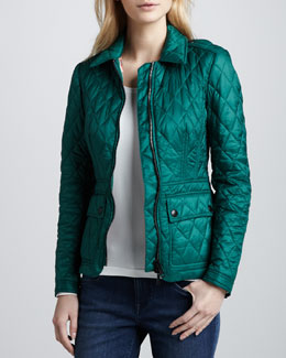 Burberry Brit Fashion Quilted Zip Jacket, Bright Racing Green