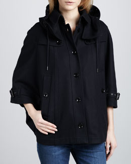 Burberry Brit Hooded Wool Cape, Navy