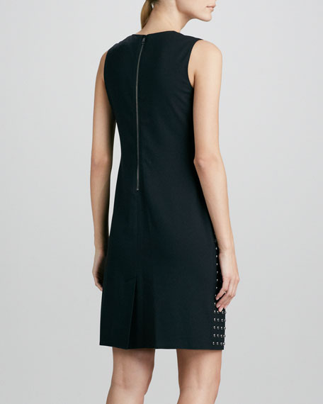Studded-Front Sheath Dress, Black