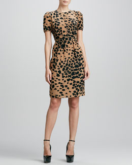Burberry London Animal-Print Silk Dress, Camel