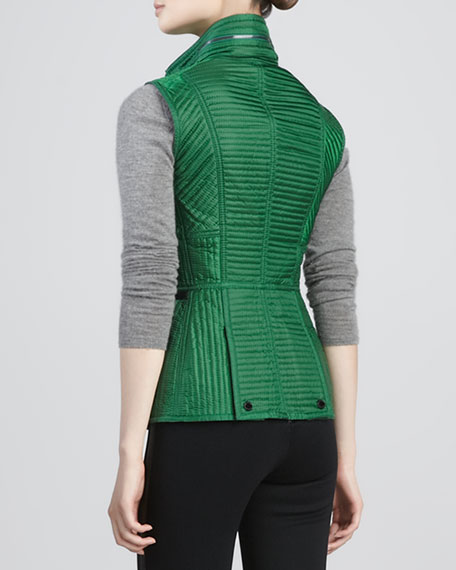 Leather-Trim Quilted Vest with Hidden Hood