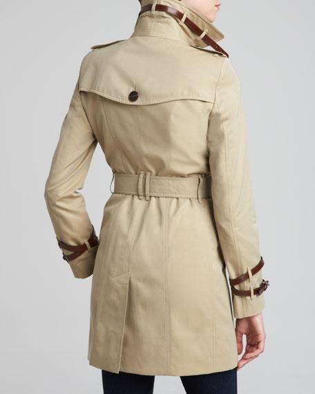 Gabardine Leather-Detail Trenchcoat