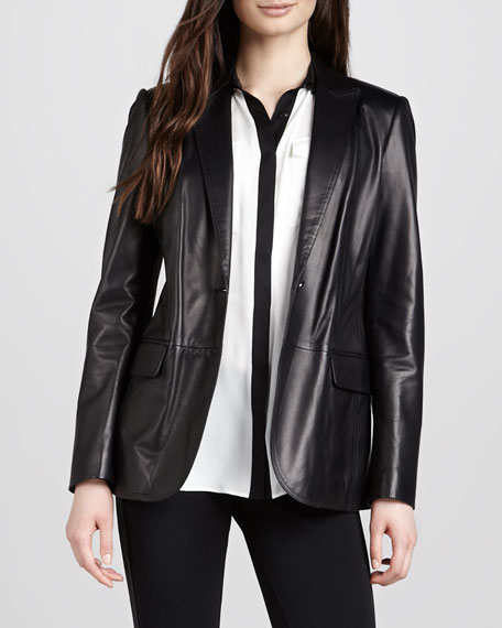 One-Button Leather Blazer