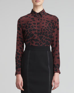 Burberry London Animal-Print Silk Blouse
