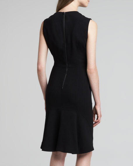 Crepe V-Neck Sleeveless Dress, Black