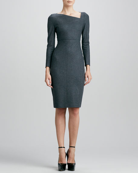 Asymmetric Fitted Wool Dress, Mid Gray Melange