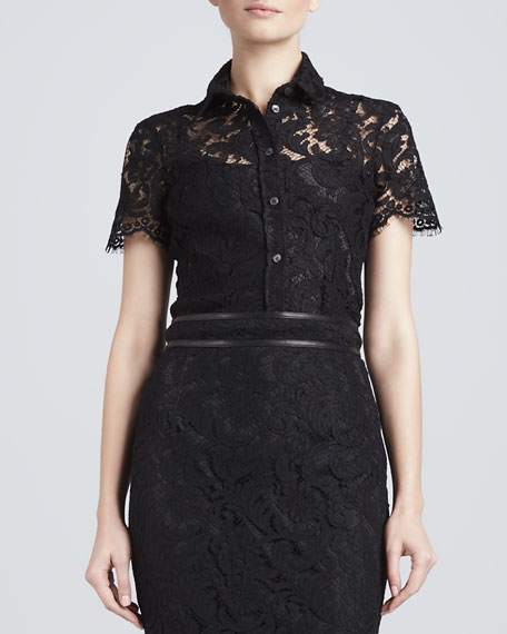 Scallop-Sleeve Lace Blouse, Black