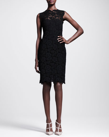Bow-Back Lace Sheath Dress