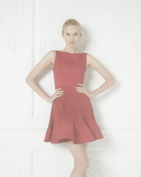 Plisse-Skirt Dress, Cassis