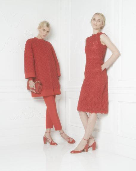 Rose Guipure Lace Sheath Dress, Rouge