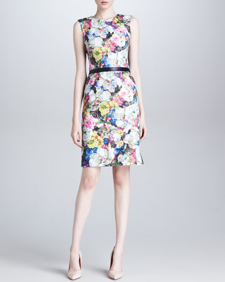 Floral Leather Dress, Blue/Ecru/Multi