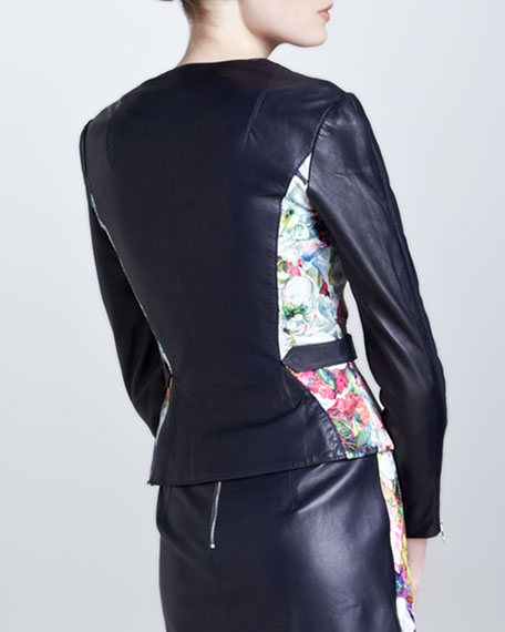 Fitted Floral Leather Jacket, Blue/Ecru/Multi