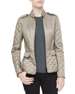 Burberry London Quilted Zip Peplum Jacket