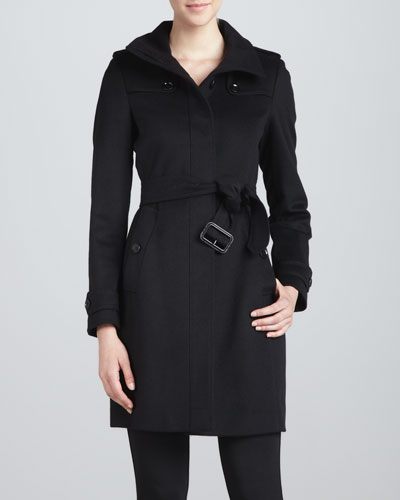 Burberry London Funnel-Neck Wool-Cashmere Coat, Black