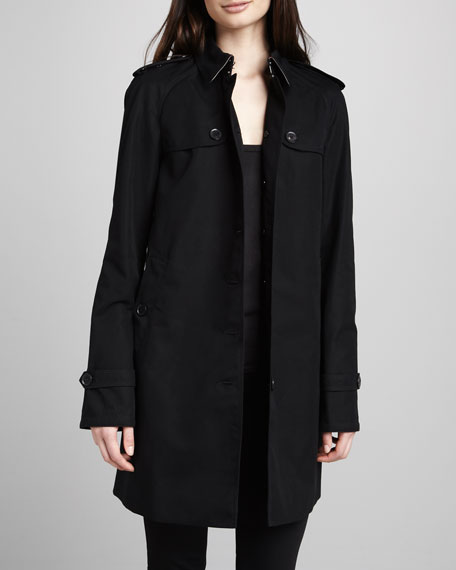 Single-Breasted Gabardine Trench Coat