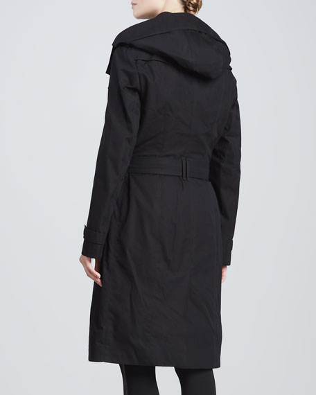 Gabardine Double-Breasted Trenchcoat, Black