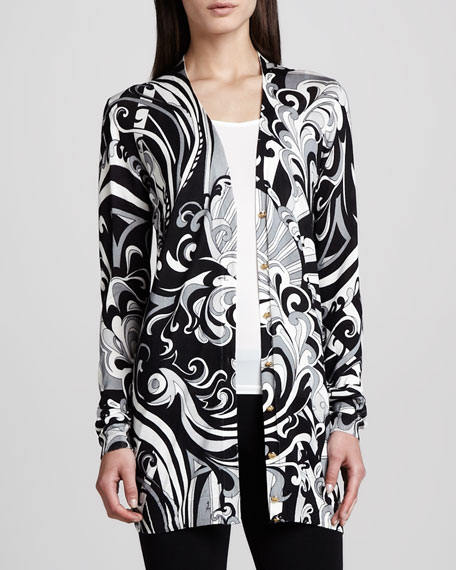 Long Printed Silk Cardigan, Black/White